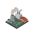 industrial factory with pipes isometric 3d element vector image