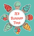 it is summer time hand drawn summer time circle vector image vector image