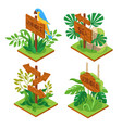 jungle wooden signs set vector image vector image