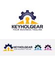keyhole gear logo design vector image vector image