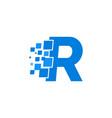 logo letter r blue blocks cubes vector image vector image