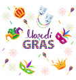 magri gras carnival flat concept with masks vector image