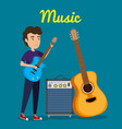 man playing guitar electric character vector image