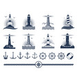 nautical logos and elements set - anchors vector image