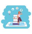 online education millennial student tablet splash vector image vector image