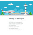 passenger plane comes in to land poster design vector image vector image