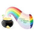Pot with gold coins and rainbow vector image vector image