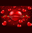 Red realistic heart with ribbon background