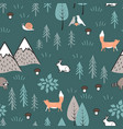 scandinavian cartoon seamless pattern with animals vector image vector image