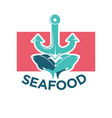 seafood colorful logo label with anchor and fish vector image vector image