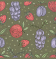 seamless pattern with different fruit vector image