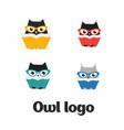set owl logo vector image