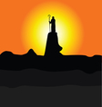 shepherd on the cliff color silhouette vector image