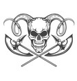 skull with ram horns and axes vector image vector image