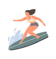 smiling woman standing on surfboard at sea or vector image vector image