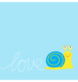 Snail insect Dash word Love Card Flat design vector image vector image