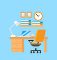 student workplace flat furniture and equipment vector image