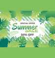 summer sale banner with leafs vector image