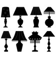 table lamp light black a set table lamp light vector image vector image
