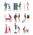 tailor characters fabric sewing workings in vector image vector image