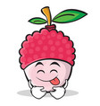 tongue out lychee cartoon character style vector image vector image