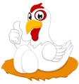 White chicken with thumb up vector image