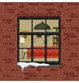 Winter window in brick wall vector image vector image