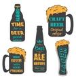 Vintage craft beer brewery emblems vector image