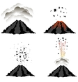 Volcano Erupting Peak of Mountain Fiery Crater vector image
