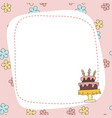 greeting card with cartoon cake greeting card vector image