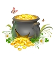 Pot with gold split Cracked pot of treasure vector image