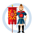 spartan warrior with the red flag flat vector image