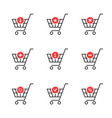 thin line set of shopping cart icon on white vector image