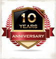 10 years anniversary golden label vector image vector image