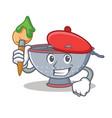 artist colander utensil character cartoon vector image