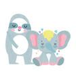 bashower cute sloth and elephant cartoon vector image