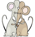 Cartoon illustration of two mice in a hug vector image