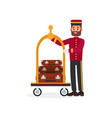 cheerful bellboy and trolley with luggage young vector image
