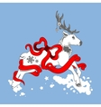 christmas deer with bow and ribbons vector image
