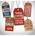 Collection of discount cardboard sale labels vector image