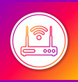 color router and wi-fi signal symbol line icon vector image vector image