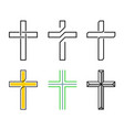 cristian holy crosses set line style design vector image vector image