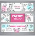 cupcake banners with handdrawn cupcakes and pink vector image