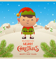 cute cartoon elf character merry christmas and vector image vector image