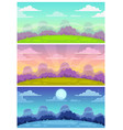 cute cartoon landscapes set day evening night vector image vector image