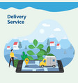 delivery van express concept checking delivery vector image