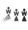 dissipated pixel halftone woman icon vector image vector image
