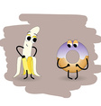 Doodle banana undress peel in front of a donut vector image vector image