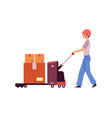 factory or shipping warehouse worker pushing vector image