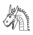 Fairy tale dragon animal fantasy outline vector image